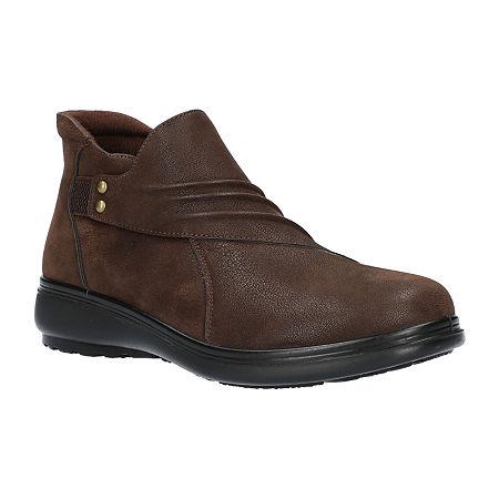 Easy Street Womens Jo Booties Flat Heel, 7 Medium, Brown