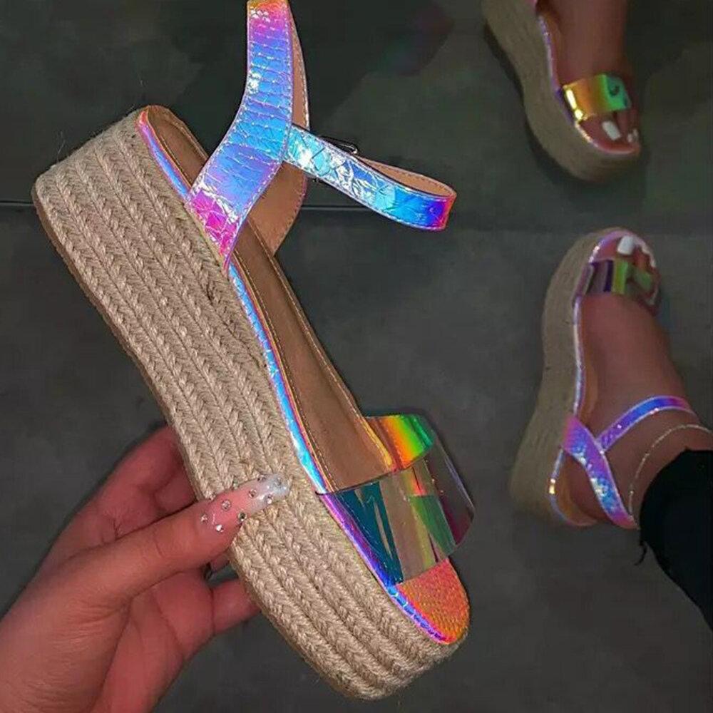 Women Casual Retro Open Toe Rhinestone Platform Espadrilles Sandals
