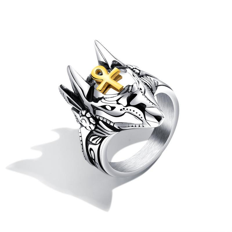 Punk Finger Rings Titanium Steel Cross Anubis Head Portrait Finger Rings Accessories Jewelry for Men