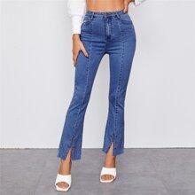 Garment Eyelets Slit Hem Jeans