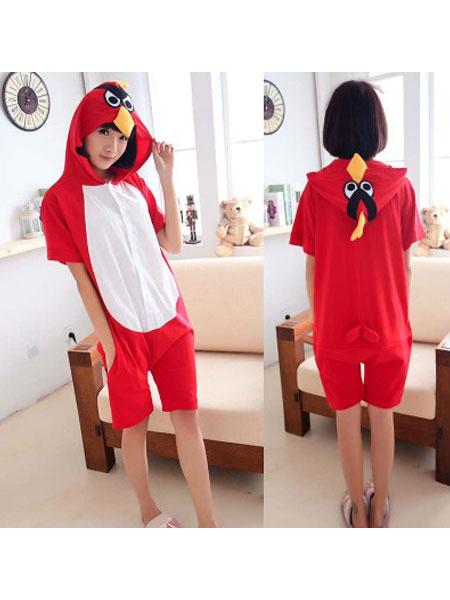 Milanoo Birds Kigurumi Pajamas Onesie Red Short Summer Animal Sleepwear For Adults