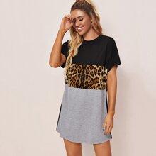 Colorblock Leopard Panel Tee Dress