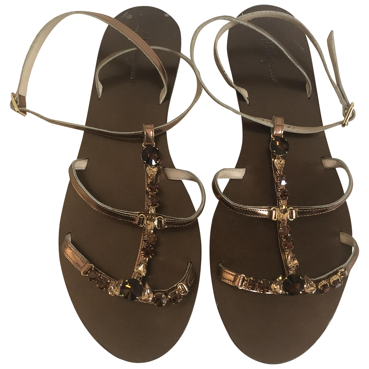 Salvatore Ferragamo \N Gold Leather Sandals for Women 41 EU