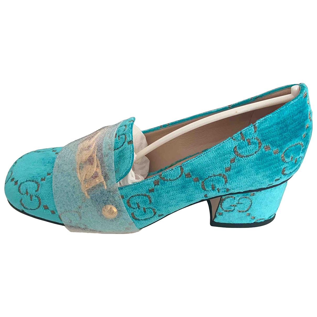 Gucci Sylvie Turquoise Velvet Heels for Women 36.5 EU