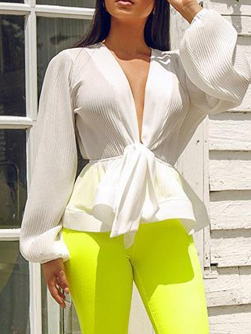 Ericdress V-Neck Plain Thread Lantern Sleeve Standard Fashion Blouse