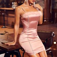 Rhinestone Tape Detail Satin Bodycon Dress