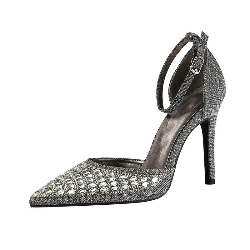 Ericdress Rhinestone Pointed Toe Buckle Stiletto Heel Women's Pumps
