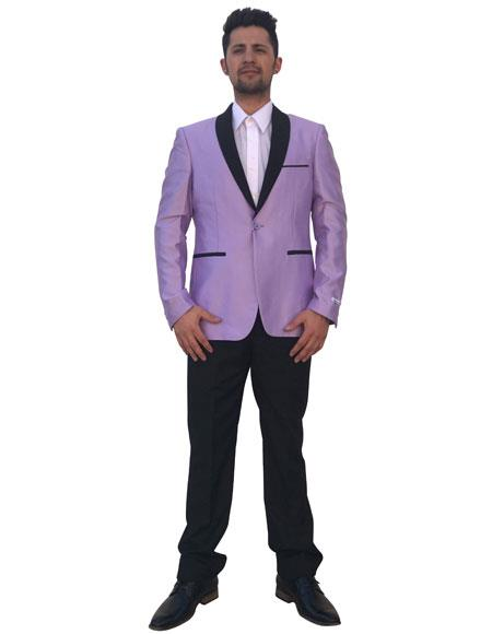Men's Lavender 2 Button Black Shawl Lapel Single Breasted Blazer