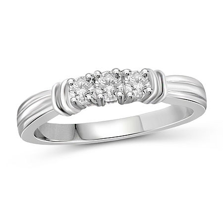 Womens 1/2 CT. T.W. White Cubic Zirconia Sterling Silver 3-Stone Promise Ring, 6 , No Color Family