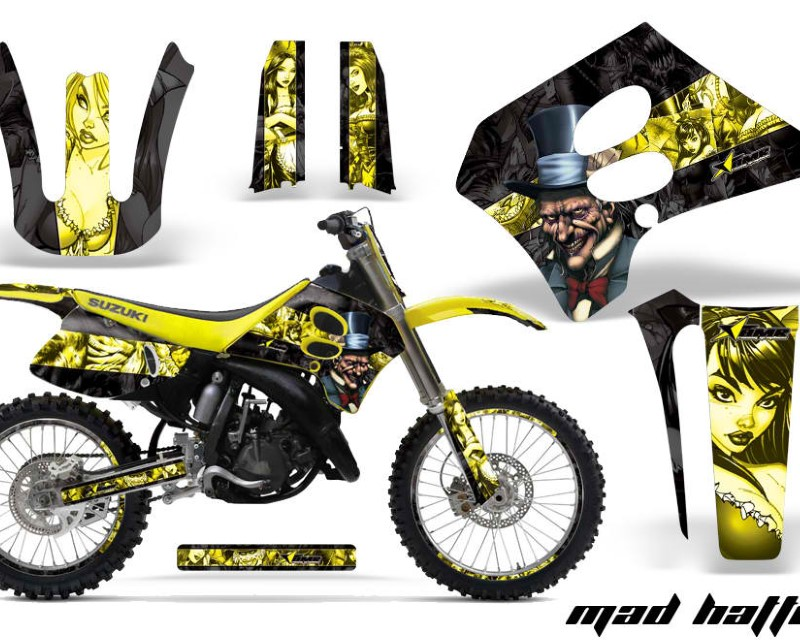 AMR Racing Graphics MX-NP-SUZ-RM125-93-95-HAT Y K Kit Decal Sticker Wrap + # Plates For Suzuki RM125 1993-1995áHATTER YELLOW BLACK