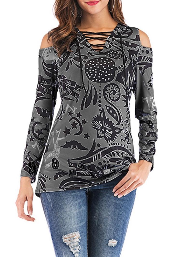 Ericdress Mid-Length Geometric Long Sleeve Casual Slim T-Shirt