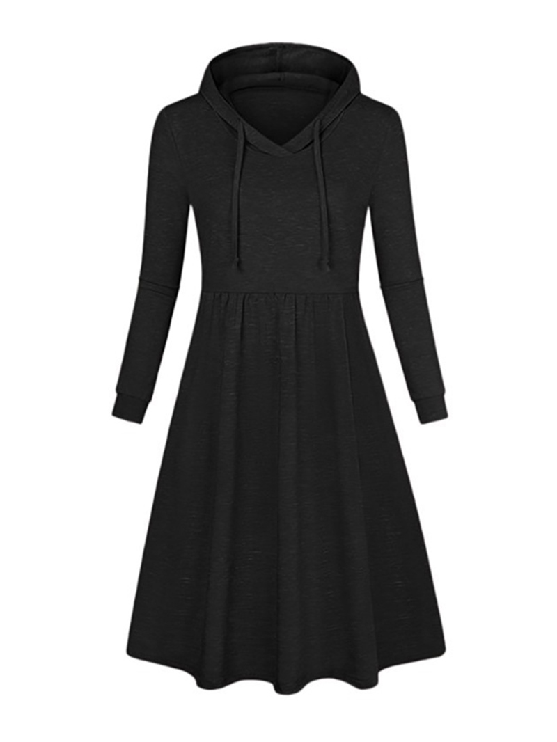 Ericdress Long Sleeve Hooded Knee-Length Trumpet Casual Dress