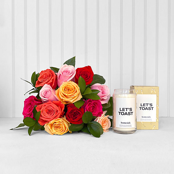 Mixed Roses & Let's Toast Homesick® Candle