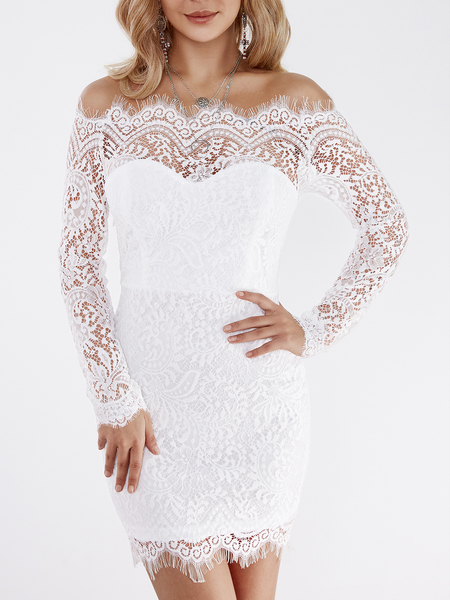 Yoins White Lace Details Off The Shoulder Long Sleeves Bodycon Dress