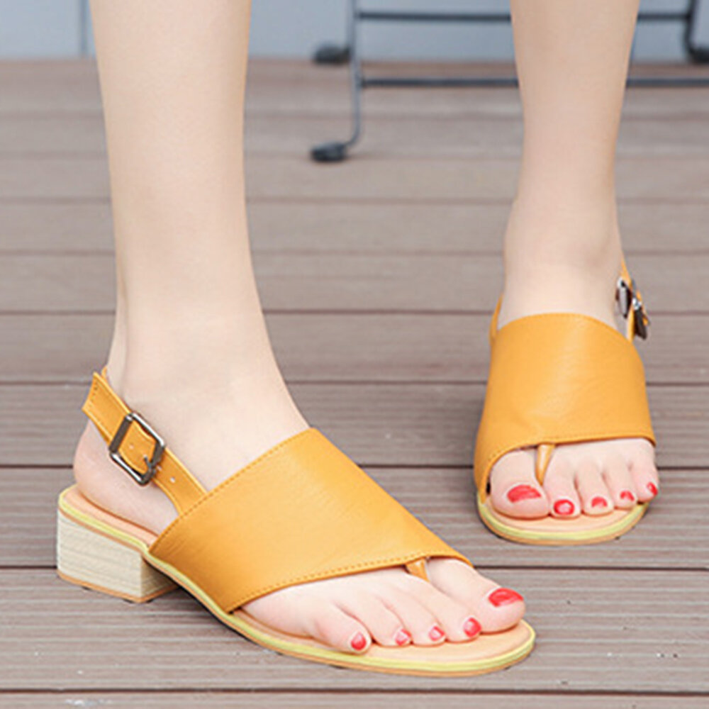 Women Solid Color Clip Toe Buckle Strap Slingback Chunky Sandals