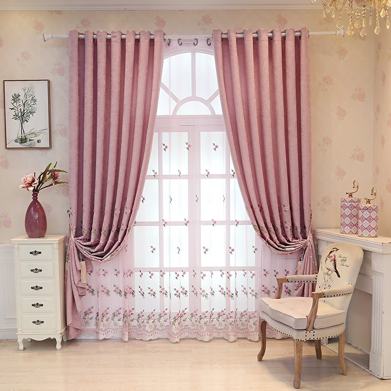 Decoration and Blackout Pink Princess Sheer Curtains For Living Room and Bedroom