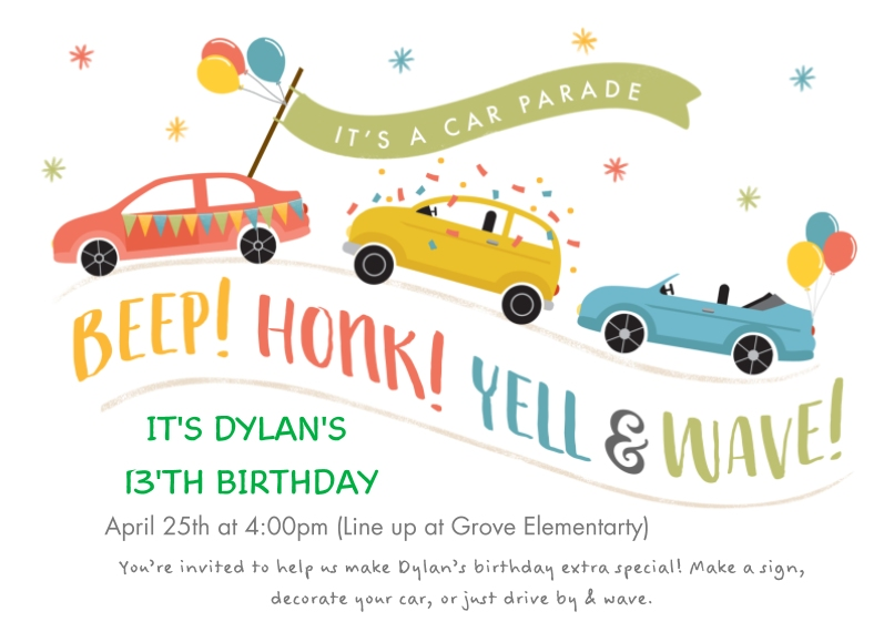 Birthday Party Invites 5x7 Cards, Premium Cardstock 120lb, Card & Stationery -Cute Car Parade