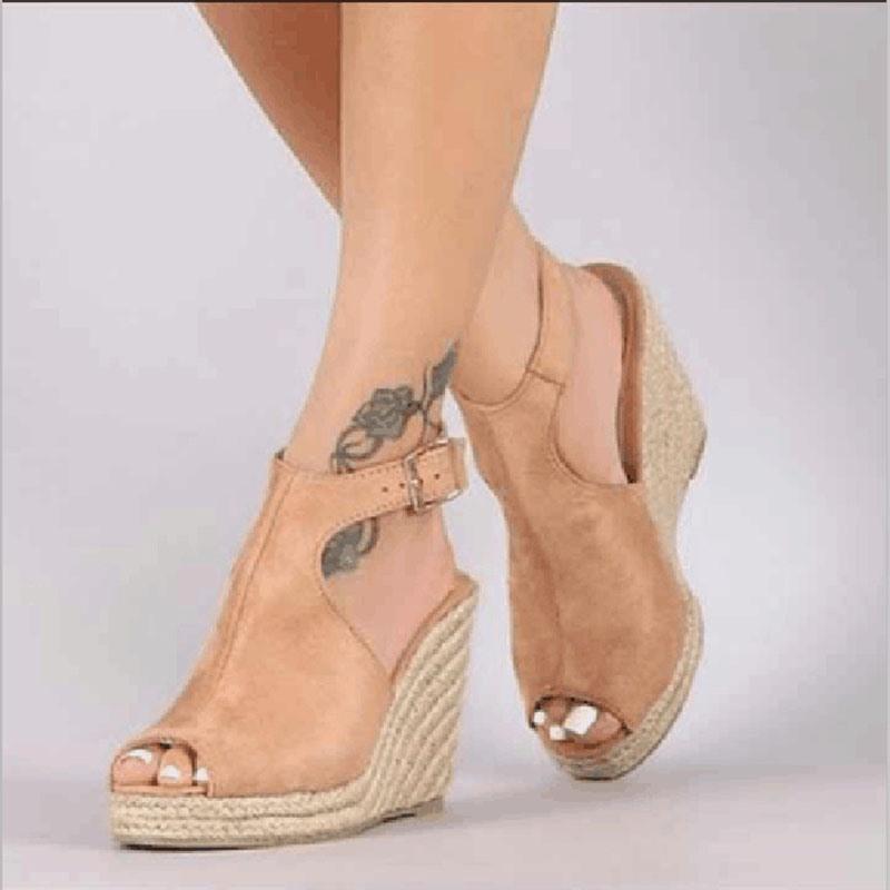 Ericdress PU Peep Toe Buckle Wedge Heel Women's Sandals