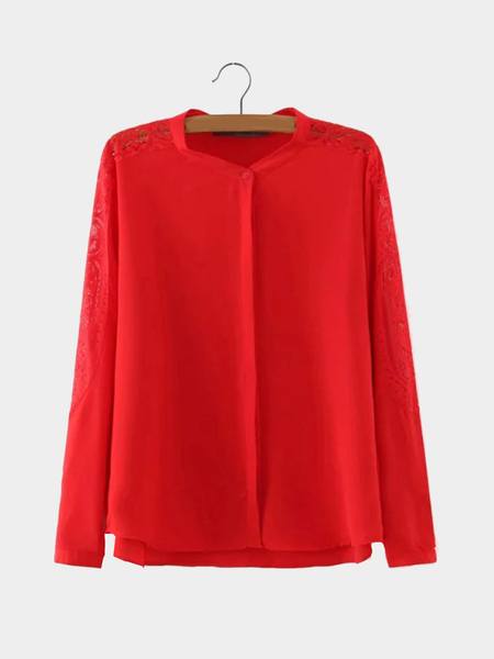 Yoins Red Sheer Long Sleeve Shirt with Lace Insert