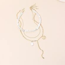 3pcs Faux Pearl Beaded Necklace