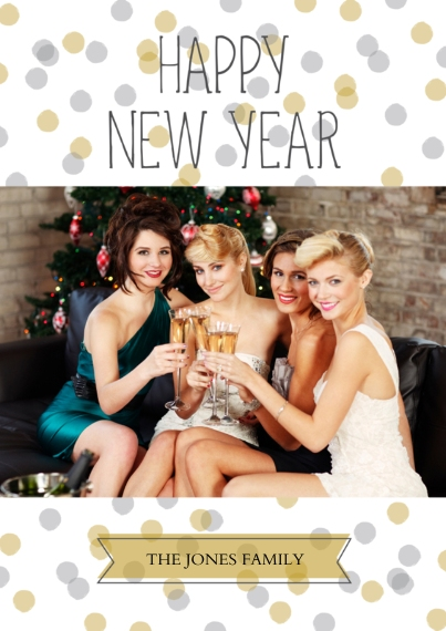 New Year's 5x7 Cards, Premium Cardstock 120lb with Scalloped Corners, Card & Stationery -Happy New Year Confetti