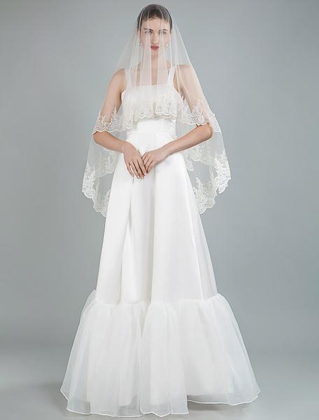 Milanoo Simple Wedding Dress Square Neck Sleeveless Ruffles A Line Floor Length Satin Bridal Dresses
