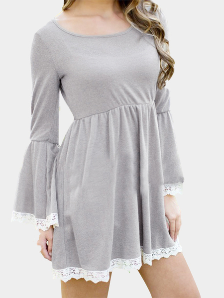 Yoins Flared Sleeves Dress with Lace Hem