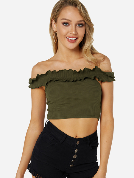 Yoins Green Falbala Design Off The Shoulder Knitted Crop Top