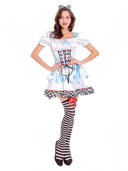 Milanoo Halloween Costume Alice In Wonderland Women Light Blue Dresses And Headpieces
