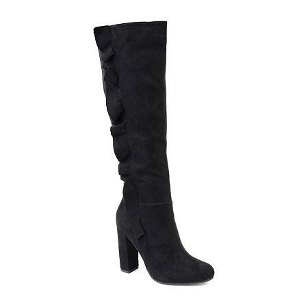 Journee Collection Womens Vivian-Xwc Dress Boots Block Heel Zip, 6 Medium, Black