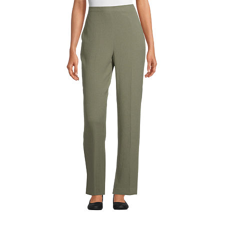 Alfred Dunner Palo Alto Womens Straight Flat Front Pant, 12 Short , Green
