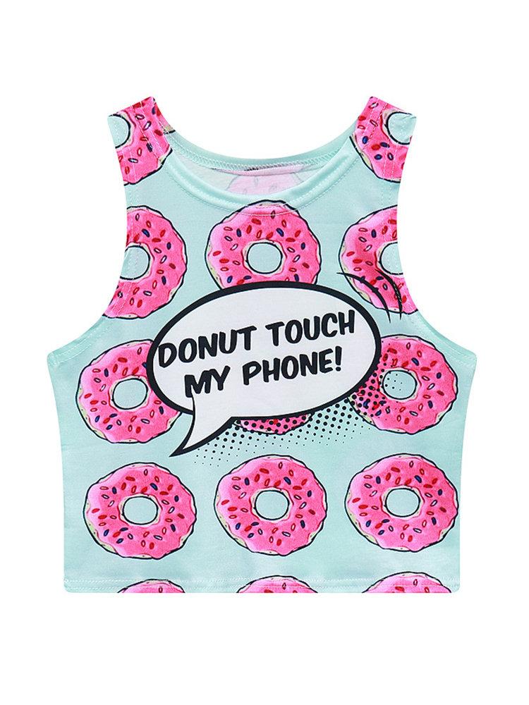 Donut Printed O-neck Sleeveless Tank Tops