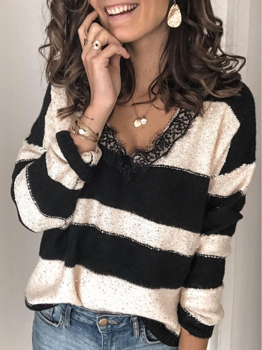 LW Lovely Casual Striped Patchwork Black Sweater