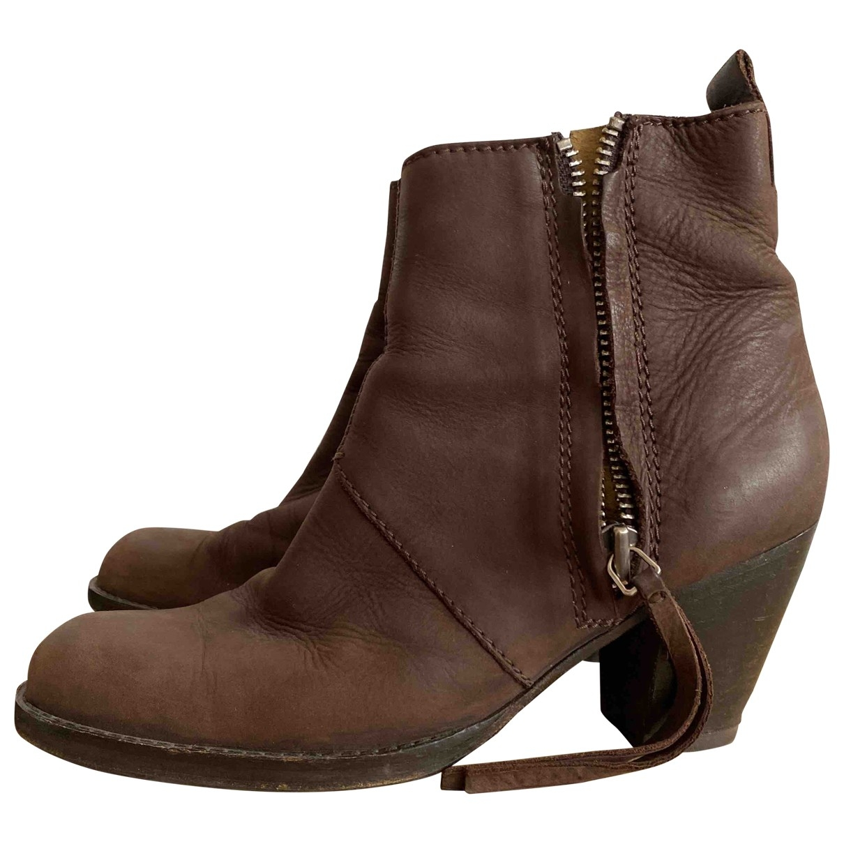 Acne Studios Pistol Brown Leather Ankle boots for Women 39 EU