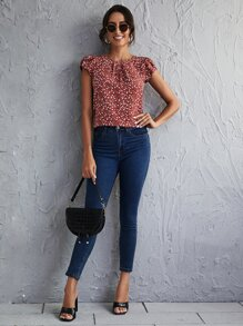 Ditsy Floral Fold Pleated Front Petal Sleeve Top