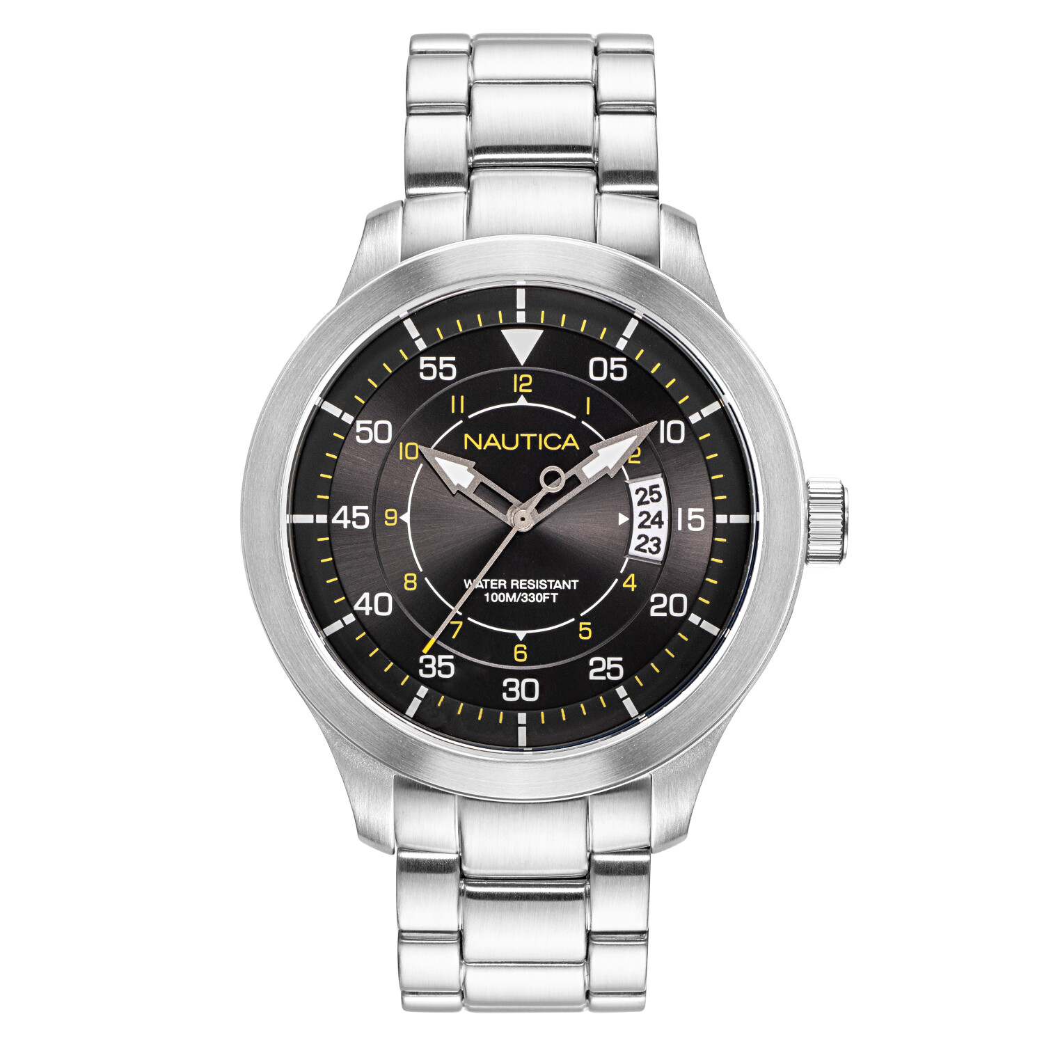 Nautica Watch NAPPLP907 Point Loma Analog, Water Resistant, Date Display, Luminous Hands, Stainless Steel Band, Black