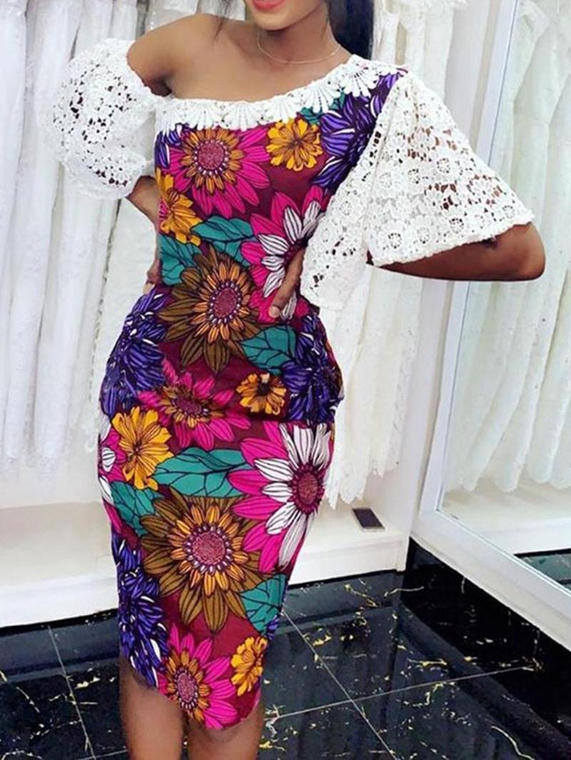 Ericdress Flare Sleeve Print Knee-Length Hollow Bodycon Oblique Collar Dress
