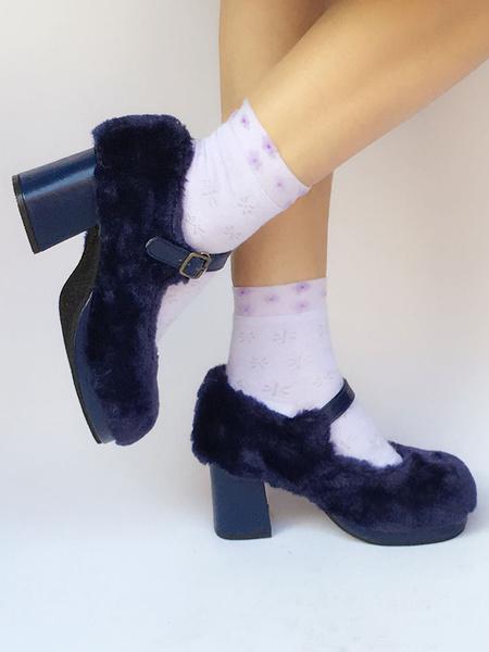 Milanoo Sweet Lolita Shoes Platform Plush Strap Chunky Heels For Lolita