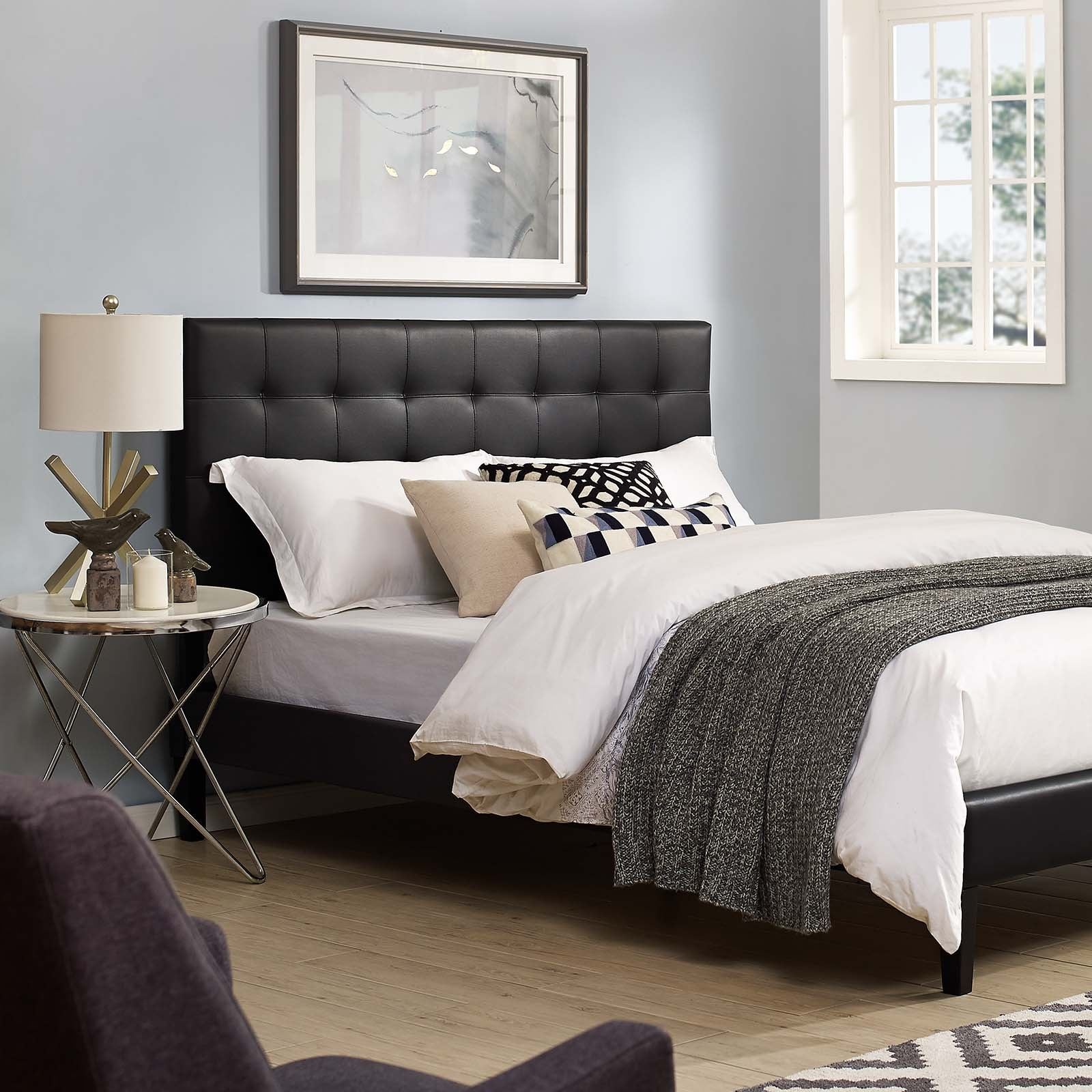 Paisley Tufted King and California King Upholstered Faux Leather Headboard in Black