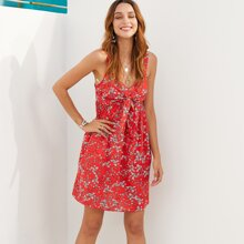 Floral Print Tie Front Shirred Slip Dress