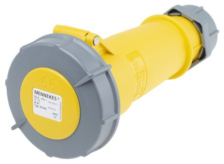 MENNEKES , AM-TOP IP67 Yellow Cable Mount 3P Industrial Power Socket, Rated At 32.0A, 110.0 V
