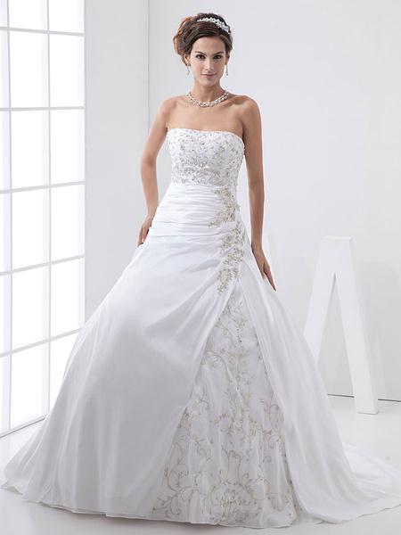 Milanoo A-line Strapless Taffeta Lace Wedding Dress