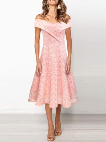 Milanoo Lace Dresses Pink Off-The-Shoulder Sleeveless Layered Pleated Classic Floral Print Dresses