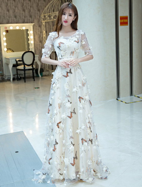 Milanoo Champagne Prom Dresses Long Half Sleeve Butterfly Printed 3D Flowers Organza Cutoff Bow Sash Floor Length Occasion Party Dress