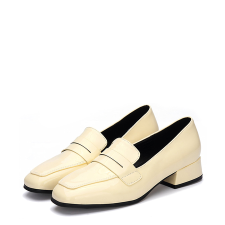 Yoins Yellow Classic Leather Look Square Toe Slip-on Loafers