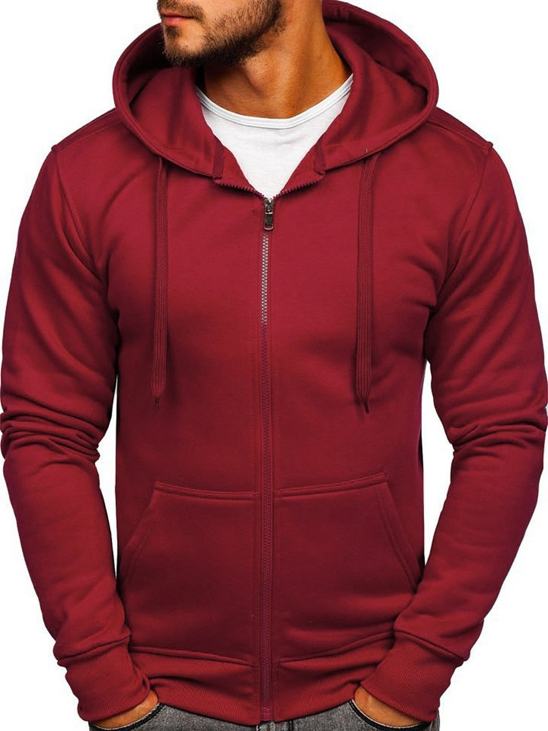Ericdress Plain Pocket Cardigan Zipper Hooded Hoodies