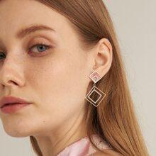Rhinestone Decor Rhombus Drop Earrings