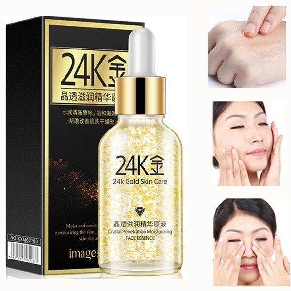 24K Gold Nourishing Essence Liquid Crystal Nutrient Serum Moisturizing Shrink Pores Face Care Serum