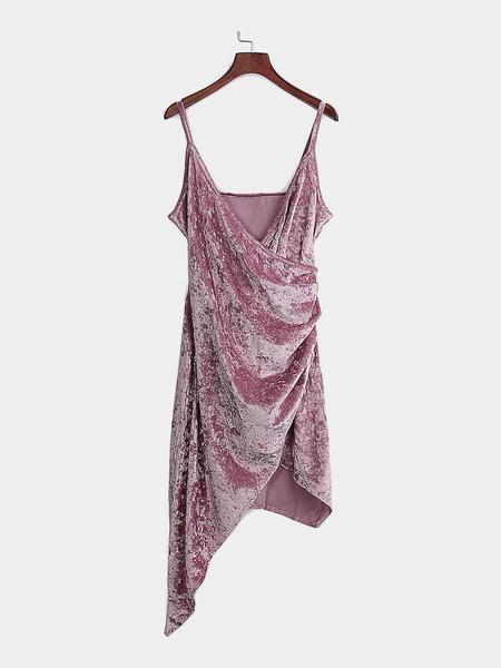 Yoins Pink Sexy V Neck Irregular Spaghetti Velvet Wrap Dress
