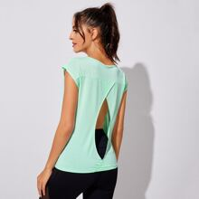 Cut Out Back Solid Sports Tee